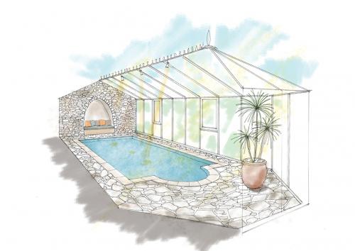 家庭用プールの上屋としてのコンサバトリー-1