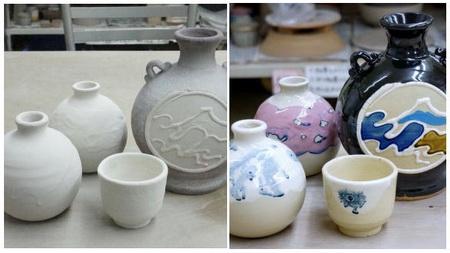 お正月用の花瓶とカラフルな装飾を加えた作品が焼けました。