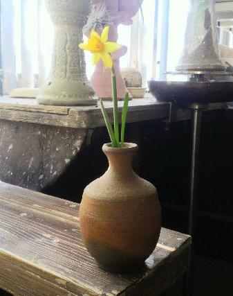 水仙の花が咲いたので備前の徳利一輪。