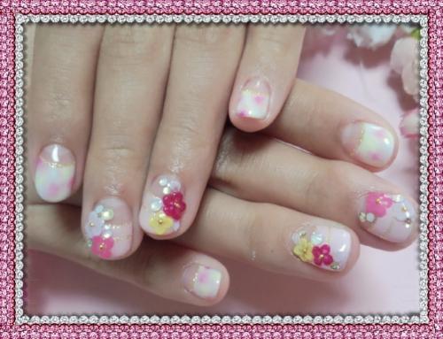 成人式ネイル ピンクお花ジェルネイル