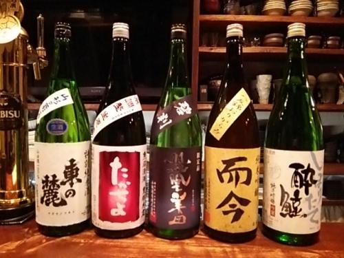 日本酒の新顔2は東の麓・たかちよ・鳳凰美田・而今・酔鯨です