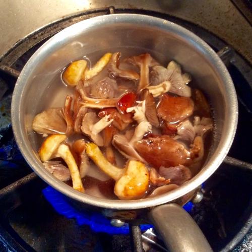天然きのこのスープ!煮込み中