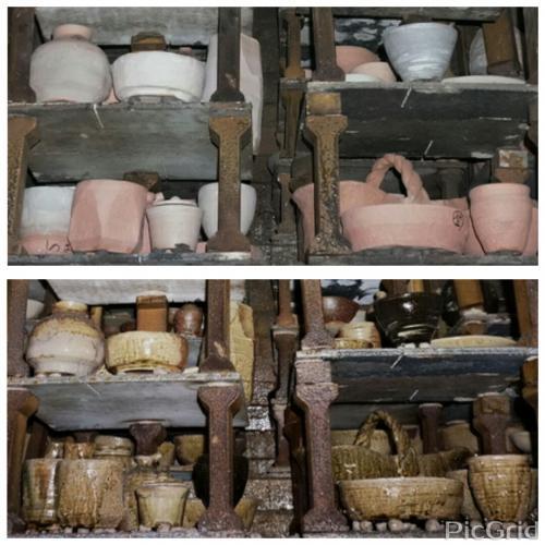 登り窯の焼成前と焼成後の比較写真です。同じアングルで撮影。