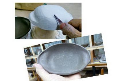 グラタン皿の作り。そろそろ暖かいもがおいしい季節到来。