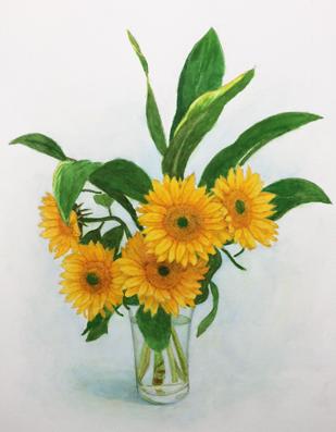 世田谷区に在住のMさんの水彩画『向日葵』