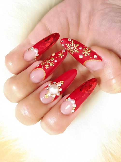 クリスマスデザイン☆ジェルネイル☆雪の結晶