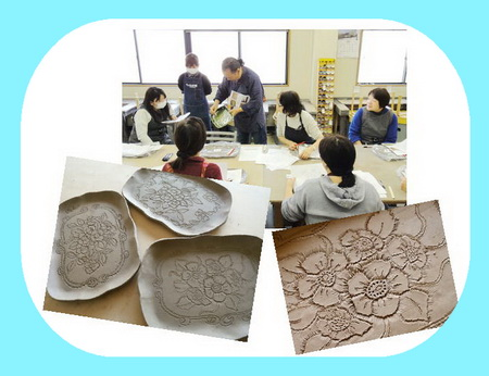 陶芸教室 東京 国立けんぼう窯 レリーフの集中講座の一日。