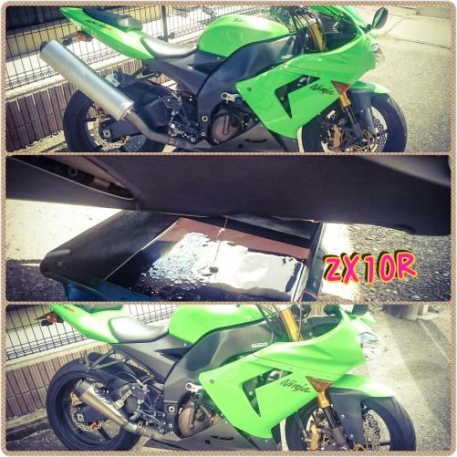 ZX10Rグリーン☆マフラー交換&オイル交換