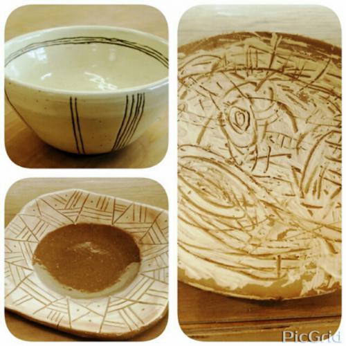 :白化粧土、掻き落としの器。陶芸教室 東京 国立けんぼう窯