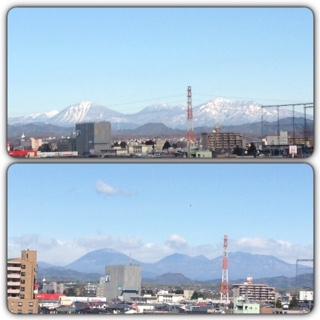 日光連山が 雪の衣装を脱ぎました。