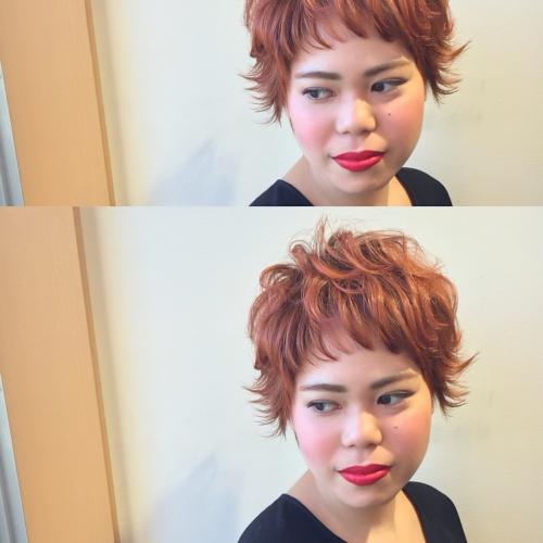 ヘアカラー オレンジ ショートヘア ベリーショート