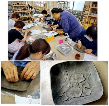 陶芸教室国立けんぼう窯 レリーフ集中練習、第二弾開催しました
