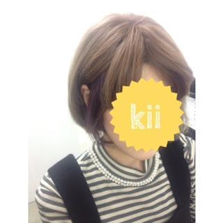 ポイントカラー紫☆ブリーチ!!