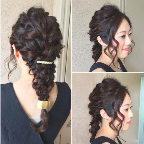 ヘアセット ヘアアレンジ お呼ばれヘア 結婚式 三つ編み
