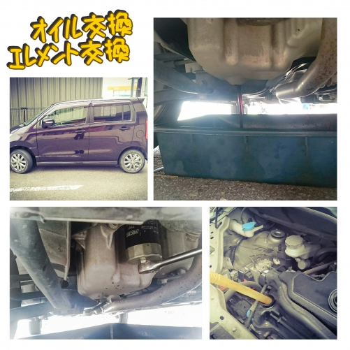 SUZUKI ワゴンRのオイル交換&エレメント交換