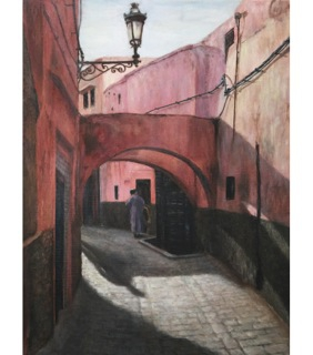 Kさんの油彩画「モロッコの街角」