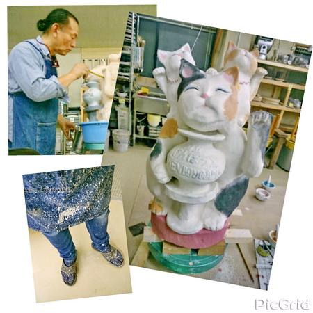 陶芸教室 東京 国立けんぼう窯 3匹の招き猫が本焼きへ。