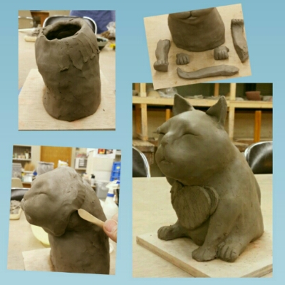 招き猫作りの講座開催に向けて試作中。陶芸教室国立けんぼう窯