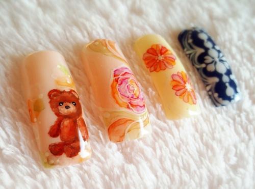 クマと薔薇とお花 たらしこみ&ピーコック