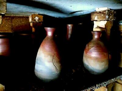 陶芸教室 東京国立けんぼう窯。備前の徳利に見事なさんぎりが。