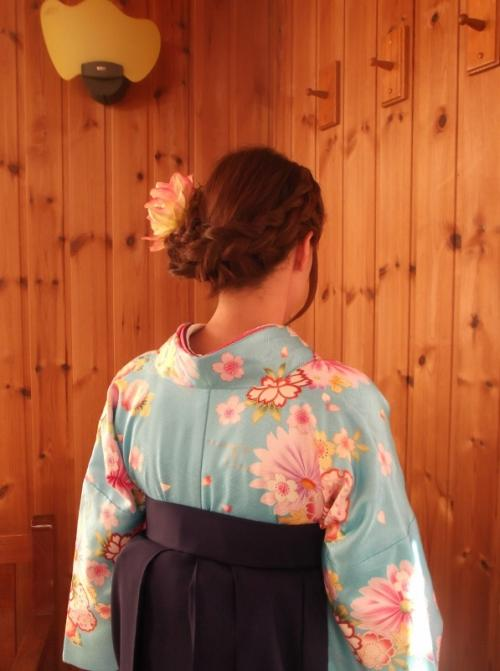 太めの編み込みヘアセット