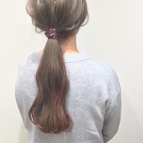 ヘアカラー アッシュ系 インナーカラー ピンクヘア