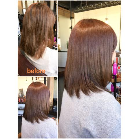 髪へのダメージを最小限で潤う髪質改善カラー♪