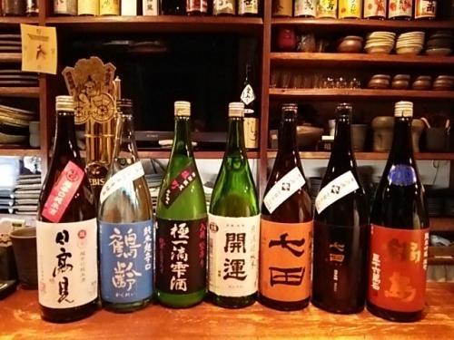 日本酒の再入荷は日高見・鶴齢・東力士・開運・七田・鍋島です。