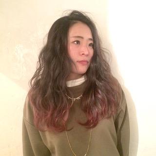 波ウェーブ/毛先カラー/デザインカラー/グラデーションカラー