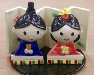かわいい陶器の雛人形。陶芸教室 東京 国立けんぼう窯。