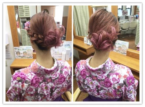 学生の卒業式、袴ヘアセット アレンジ 調布美容院