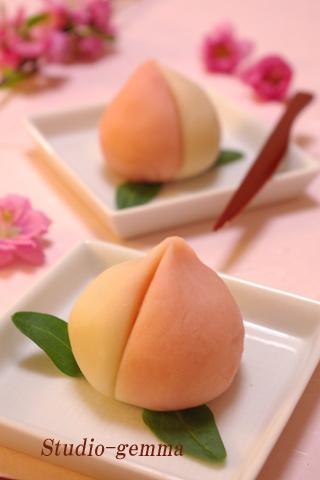 ひな祭りのお菓子 桃の練りきり