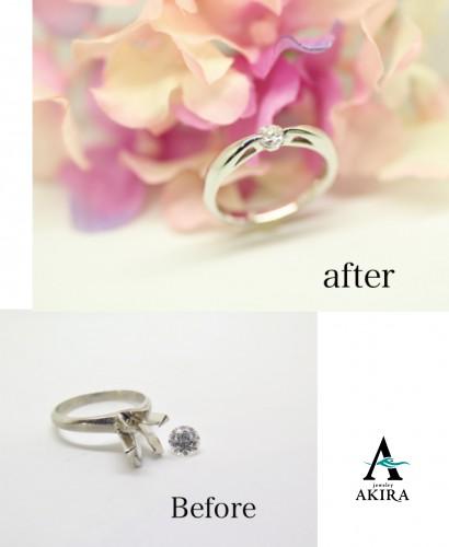 立て爪の婚約指輪を普段使いにリフォーム