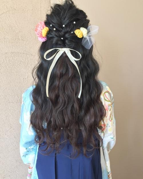 卒業式 髪型 ハーフアップ ロングヘアアレンジ 袴 2017