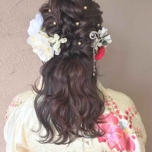 卒業式 髪型 ハーフアップ 髪飾り メイク 2017