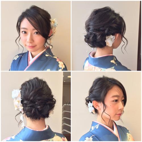 卒業式ヘア アップスタイル 和装 髪型 袴 着付け 2017