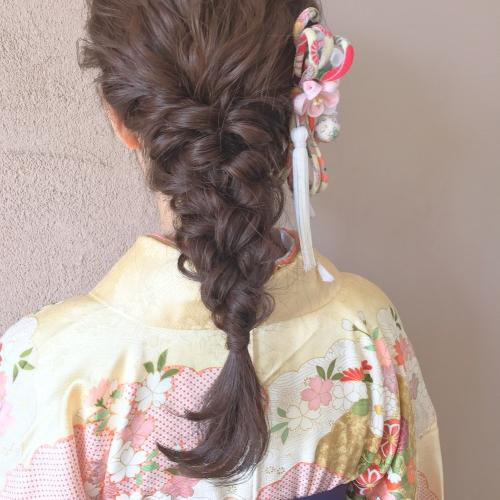 卒業式 髪型 ヘアセット 編みおろし 三つ編み  2017