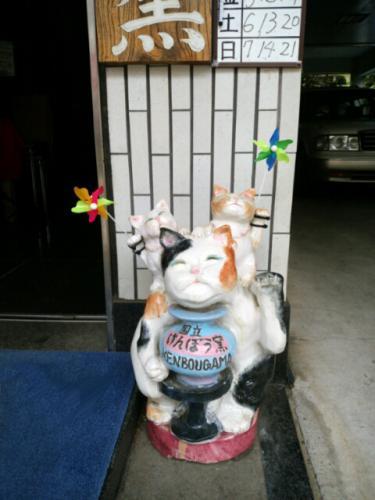 けんぼう窯の入り口の招き猫に風車を二つ持たせてみました。