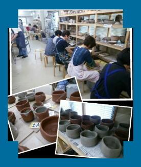 陶芸教室 国立けんぼう窯 集中講座。志野茶碗を作る。