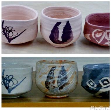 登り窯で焼いた3種類の志野茶碗。陶芸教室 国立けんぼう窯。