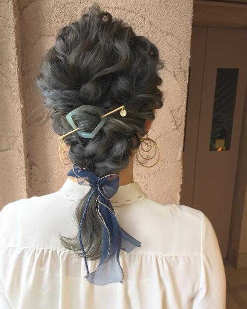 ヘアセット 編みおろし ダウンスタイル シルソワ ブルー