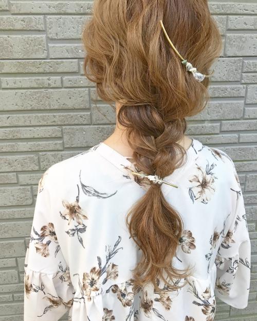 ヘアセット 編みおろし シルソワ クリスタルコーム 髪型
