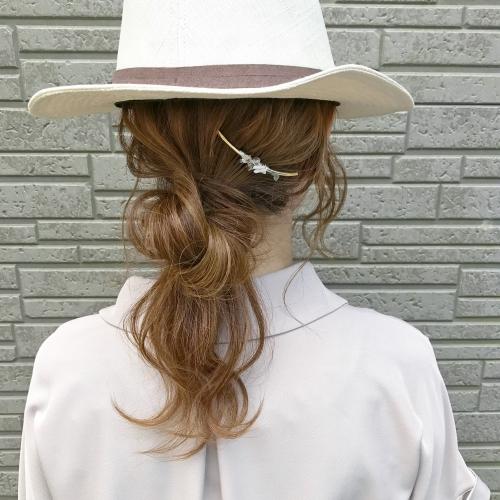 シルソワ クリスタルコーム 帽子ヘアアレンジ