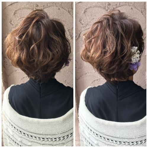 ショートヘアアレンジ 結婚式 パーティーヘアセット