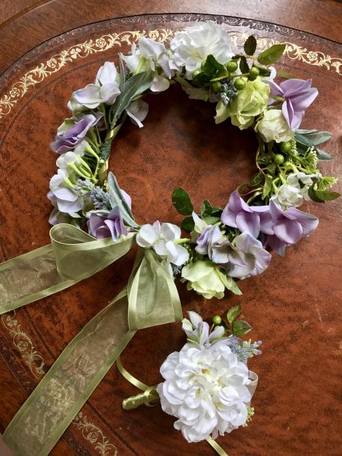 ニューカレドニア挙式用花冠、ブートニア