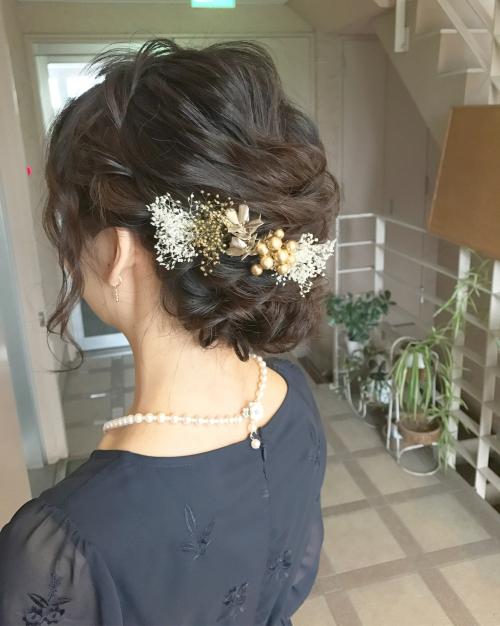 結婚式 お呼ばれヘア アップスタイル プリザ 髪型
