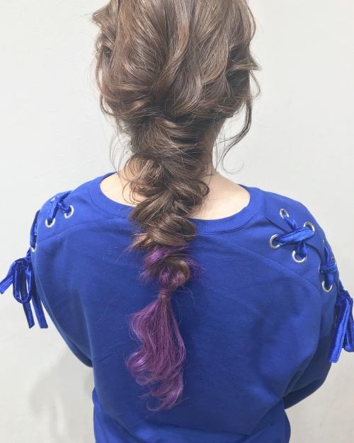 ポイントカラー パープル ダウン編みおろしスタイル