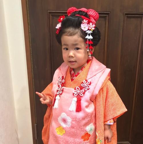 七五三  3歳 日本髪 ヘアセット 着付け