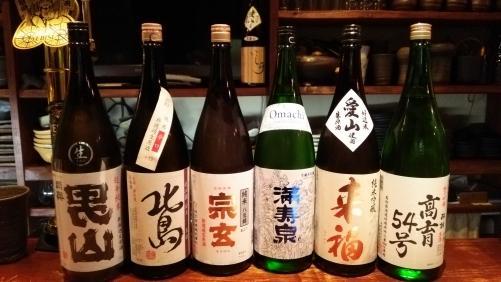 日本酒の新顔は、陸奥男山・北島・宗玄・来福・酔鯨等です