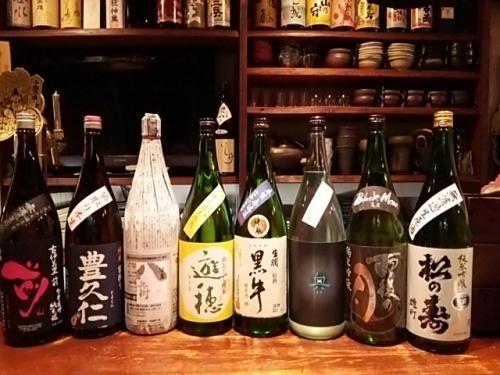 日本酒の新顔は豊久仁・遊穂・黒牛・奥・雨後の月・松の寿です